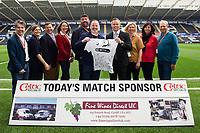 Lee Trundle of Swansea City with match shirt sponsors during the Sky Bet Championship match between Swansea City and Middlesbrough at the Liberty Stadium in Swansea, Wales, UK. Saturday 06 April 2019