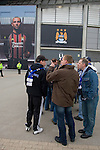 Manchester City 2 Hamburg SV 1, 16/04/2009. City of Manchester Stadium, UEFA Cup quarter-final. Hamburg fans queueing outside the City of Manchester Stadium, home to Manchester City FC, before the UEFA Cup quarter final second leg match with Hamburg SV. Several thousand fans of the German club made the trip to manchester to see their side progress to an all-German semi-final with Werder Bremen. Although Hamburg lost 2-1 in Manchester they went through 4-3 on aggregate after winning last week's first-leg 3-1. Photo by Colin McPherson.