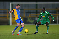 Connor Hammond of Romford and Anthony McDonald of Haringey during Romford vs Haringey Borough, Bostik League Division 1 North Football at Ship Lane on 8th November 2017