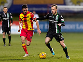 2nd December 2017, Firhill Stadium, Glasgow, Scotland; Scottish Premiership football, Partick Thistle versus Hibernian; Paul McGinn (Partick Thistle) and Brandon Barker (Hibernian)