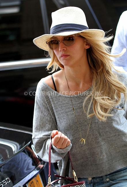 WWW.ACEPIXS.COM<br /> <br /> June 10 2015, New York City<br /> <br /> Actress Jennifer Lawrence arrives at a downtown hotel on June 10 2015 in New York City<br /> <br /> By Line: Nancy Rivera/ACE Pictures<br /> <br /> <br /> ACE Pictures, Inc.<br /> tel: 646 769 0430<br /> Email: info@acepixs.com<br /> www.acepixs.com