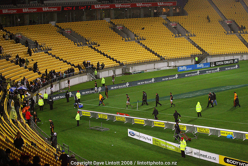 The Wellington Lions walk back to the showers after the medal presentations during the Air NZ Cup Final between Wellington and Canterbury at Westpac Stadium, Wellington, New Zealand on Saturday 25th October 2008.  Photo: Dave Lintott / lintottphoto.co.nz