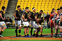 The Lions scrum packs down during the Mitre 10 Cup rugby union match between Wellington Lions and Hawkes Bay Magpies at Westpac Stadium, Wellington, New Zealand on Wednesday, 6 September 2017. Photo: Dave Lintott / lintottphoto.co.nz