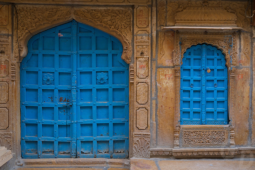 Colorful graphic walls in Jaisalmer, Rajasthan, India