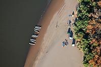 Colorado River rafters along shore