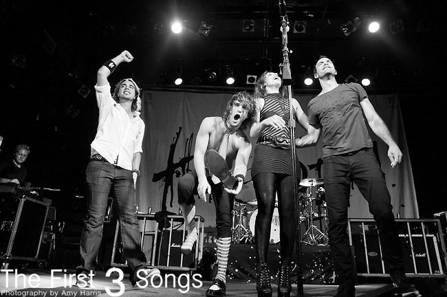 Joe Hottinger, Arejay Hale, Lzzy Hale and Josh Smith of Halestorm perform at Bogarts in Cincinnati, Ohio.