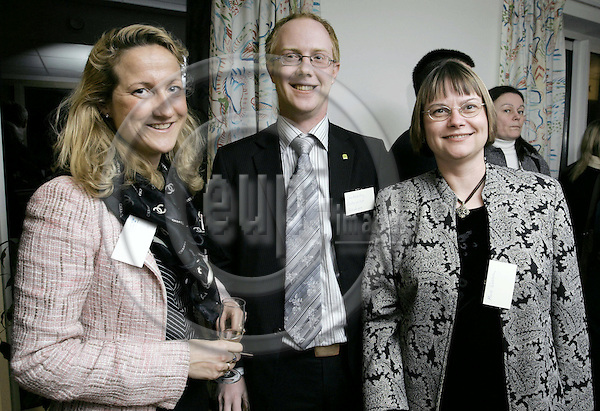 BRUSSELS - BELGIUM - 28 FEBRUARY 2005 --The Inauguration of the LRF, Federation of Swedish Farmers Brussels Office.-- Cecilia WIDEGREN, Claes VÄSTERTEG, Marie WAHLGREN  PHOTO: JUHA ROININEN / EUP-IMAGES