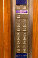 Yangzhou, Jiangsu, China.  Elevator Shows No Number 4, an unlucky number in Chinese Culture.