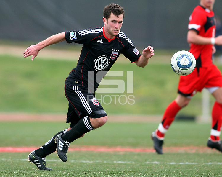 Stephen King (7) of D.C. United  during a scrimmage against the University of Maryland at Ludwig Field, University of Maryland, College Park, on April  10 2011. D.C. United won 1-0.