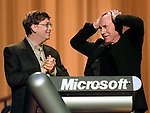 Microsoft Corp. Chairman and Chief Software Architect Bill Gates, left, and actor Patrick Stewart, right, announce the launch of Windows 2000 in San Francisco, Thursday, Feb. 17, 2000. The new operating system, designed to power business workstation computers and large computer servers that host networks and Web sites, is considered more stable and reliable than Windows NT. (AP Photo/Paul Sakuma)
