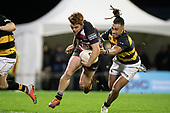 Andrew Kellaway makes a break past Sean Wainui. . Mitre 10 Cup rugby game between Counties Manukau Steelers and Taranaki Bulls, played at Navigation Homes Stadium, Pukekohe on Saturday August 10th 2019. Taranaki won the game 34 - 29 after leading 29 - 19 at halftime.<br /> Photo by Richard Spranger.