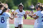 Bri Jean-Charles (11) of the High Point Panthers during player introductions prior to the match against the Appalachian State Mountaineers at Vert Track, Soccer & Lacrosse Stadium on August 26, 2016 in High Point, North Carolina.  The Panthers defeated the Mountaineers 2-0.  (Brian Westerholt/Sports On Film)