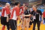 November 18 2011 - Guadalajara, Mexico:   CEO Henry Storgaard congradulates the Men's Sitting Volleyball Team after they won the Bronze Medal at the 2011 Parapan American Games.  Photos: Matthew Murnaghan/Canadian Paralympic Committee