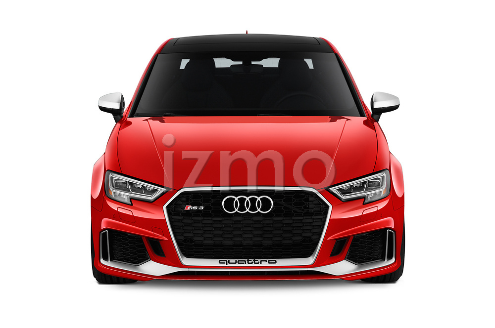 Car photography straight front view of a 2019 Audi RS-3 4WD 4 Door Sedan Front View