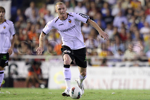21.09.2011. Valencia Spain. Valencia's Jeremy Mathieu during First Division Spanish Liga soccer match - Barcelona v Valencia at  Mestalla stadium, Valencia, Spain.
