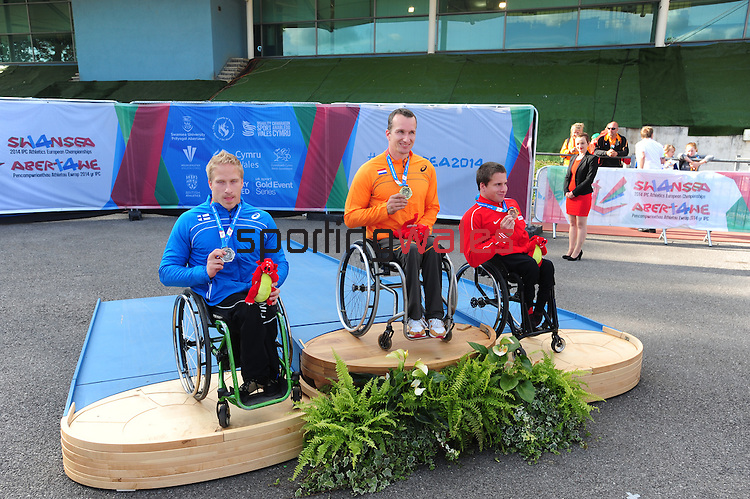 IPC European Athletics Championship 2014<br /> Swansea University<br /> <br /> Medal ceremony: Men's 200m T54.<br /> <br /> 22.08.14<br /> Chris Vaughan-SPORTINGWALES