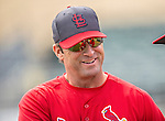 2 March 2013: St. Louis Cardinals Manager Mike Matheny chats prior to a Spring Training game against the Washington Nationals at Roger Dean Stadium in Jupiter, Florida. The Nationals defeated the Cardinals 6-2 in their first meeting since the NLDS series in October of 2012. Mandatory Credit: Ed Wolfstein Photo *** RAW (NEF) Image File Available ***