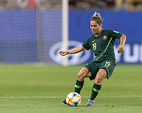 GRENOBLE, FRANCE - JUNE 18: Katrina Gorry #19 of the Australian National Team passes the ball during a game between Jamaica and Australia at Stade des Alpes on June 18, 2019 in Grenoble, France.