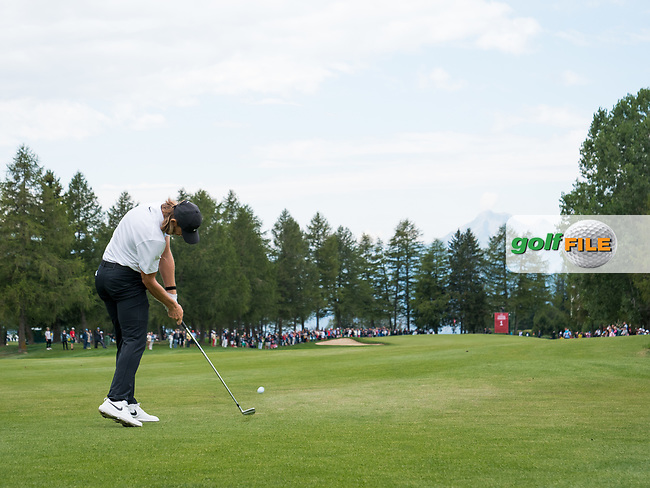 Tommy Fleetwood (ENG) in action on the 1st hole during final round at the Omega European Masters, Golf Club Crans-sur-Sierre, Crans-Montana, Valais, Switzerland. 01/09/19.<br /> Picture Stefano DiMaria / Golffile.ie<br /> <br /> All photo usage must carry mandatory copyright credit (© Golffile | Stefano DiMaria)