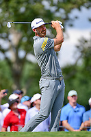 Dustin Johnson (USA) watches his tee shot on 17 during Saturday's round 3 of the PGA Championship at the Quail Hollow Club in Charlotte, North Carolina. 8/12/2017.<br /> Picture: Golffile | Ken Murray<br /> <br /> <br /> All photo usage must carry mandatory copyright credit (&copy; Golffile | Ken Murray)