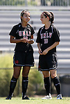05 September 2009: UNLV's Brianna Moore (10) and Dani Morin (16). The Duke University Blue Devils played the University of Nevada Los Vegas Runnin' Rebels to a 0-0 tie after overtime at Koskinen Stadium in Durham, North Carolina in an NCAA Division I Women's college soccer game.