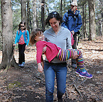 Matt Helffrich, and Alyssa Babcock, with their daughters Julie, 8, and Ivy, 5, of Stone Ridge, on a Family Hike thru the Esopus Bend Nature Preserve, in Saugerties, NY, on Sunday, April 19, 2015. The event was a scheduled Open Invitation sponsored by the Esopus Creek Conservancy, but the Helffrich-Babcock's were the only family in attendance. Photo by Jim Peppler. Copyright Jim Peppler 2015.