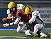 Joe Yarusso #11 of Plainedge fights for yards after a catch during the Nassau County football Conference III semifinals against Lynbrook at Shuart Stadium in Hempstead on Saturday, Nov. 10, 2018.