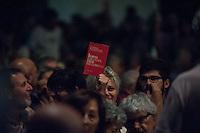 Bologna 15 settenbre 2016. Festa dell'Unita.<br /> Confronto tra il premier e segretario del Partito Democratico Matteo Renzi e Carlo Smuraglia preidente di ANPI sul tema della riforma costituzionale ed il referendum per la sua conferma. Al dibattito hanno assistito circa 4000 persone naturalmete divise nelle due fazioni per il Si o il No.