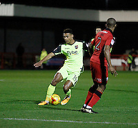 Exeter City's Ollie Watkins attacks Crawley Town's Lewis Young during the Sky Bet League 2 match between Crawley Town and Exeter City at Broadfield Stadium, Crawley, England on 28 February 2017. Photo by Carlton Myrie / PRiME Media Images.