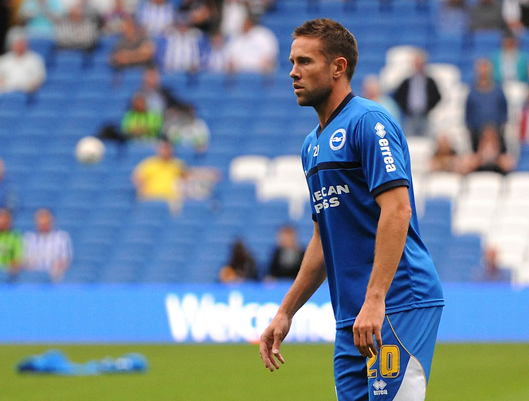 Brighton and Hove Albion's Matthew Upson in action during todays match warm up<br /> <br /> (Photo by Ashley Crowden/CameraSport<br /> <br /> Football - Capital One Cup First Round - Brighton and Hove Albion v Newport County - Tuesday 6th August 2013 - American Express Community Stadium - Brighton<br />  <br /> &copy; CameraSport - 43 Linden Ave. Countesthorpe. Leicester. England. LE8 5PG - Tel: +44 (0) 116 277 4147 - admin@camerasport.com - www.camerasport.com