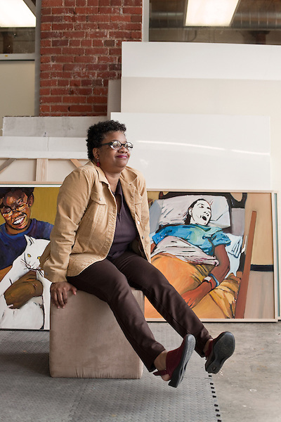 "April 8, 2011. Durham, NC..Painter Beverly McIver in her studio. ""Raising Renee"", a film about McIver and her sister Renee, will premiere at the Full Frame Documentary Film Festival on April 15th."