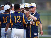 Boca Ciega Pirates Marlin Lagesse (18) high fives Ivan Rodriguez (12) after a game against the Lakeland Spartans at Boca Ciega High School on March 2, 2016 in St. Petersburg, Florida.  (Copyright Mike Janes Photography)