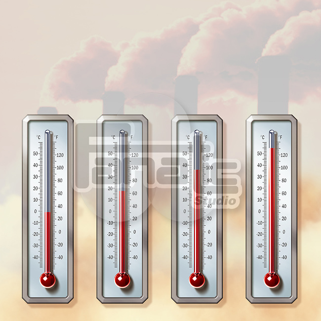 Illustrative image of thermometers showing rising temperatures with smoke emitting from chimneys representing global warming