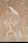 North Wall Anthropomorphic Petroglyph, Petroglyph Trail Chetro Ketl to Pueblo Bonito, Chaco Culture National Historical Park, Chaco Canyon, Nageezi, New Mexico