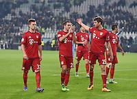 FUSSBALL CHAMPIONS LEAGUE  SAISON 2015/2016 ACHTELFINAL HINSPIEL Juventus Turin - FC Bayern Muenchen             23.02.2016 Enttaeuschung Bayern Muenchen; Joshua Kimmich, Philipp Lahm und Thomas Mueller (v.li.)