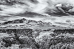 Black and white infrared image of mountain range