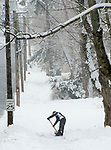WINSTED, CT-011718JS01--A resident shovels the sidewalk outside their Williams Avenue home in Winsted on Wednesday. <br /> Jim Shannon Republican-American