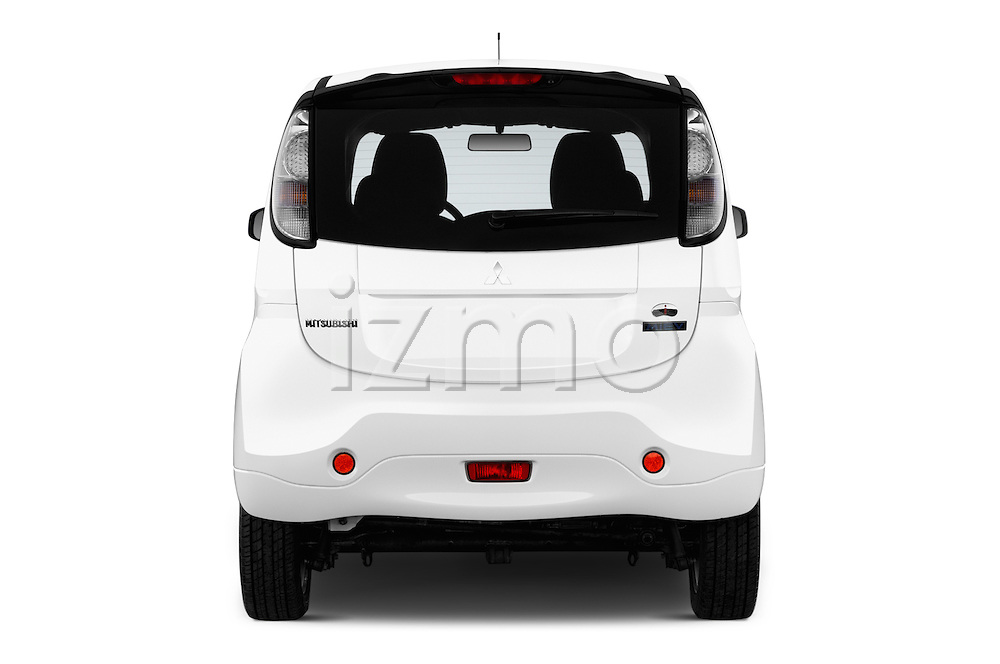 Straight rear view of 2016 Mitsubishi iMiEV 5 Door Micro Car Rear View  stock images