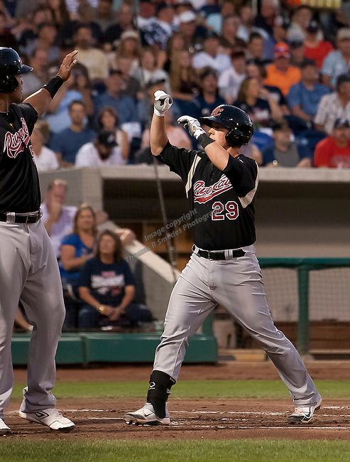 Sacramento River Cats Blake Lalli get high-fives after hitting a 3 run homerun in the second inning during their play off game agianst the Reno Aces    on Saturday night September 8, 2012 at Aces Ballpark in Reno NV.