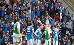 Rangers fans react in disbelief as Ryan Jack is sent off by John Beaton in the foreground