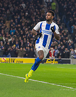 Brighton & Hove Albion's Jurgen Locadia celebrates scoring his side's first goal <br /> <br /> Photographer David Horton/CameraSport<br /> <br /> The Premier League - Brighton and Hove Albion v Arsenal - Wednesday 26th December 2018 - The Amex Stadium - Brighton<br /> <br /> World Copyright © 2018 CameraSport. All rights reserved. 43 Linden Ave. Countesthorpe. Leicester. England. LE8 5PG - Tel: +44 (0) 116 277 4147 - admin@camerasport.com - www.camerasport.com
