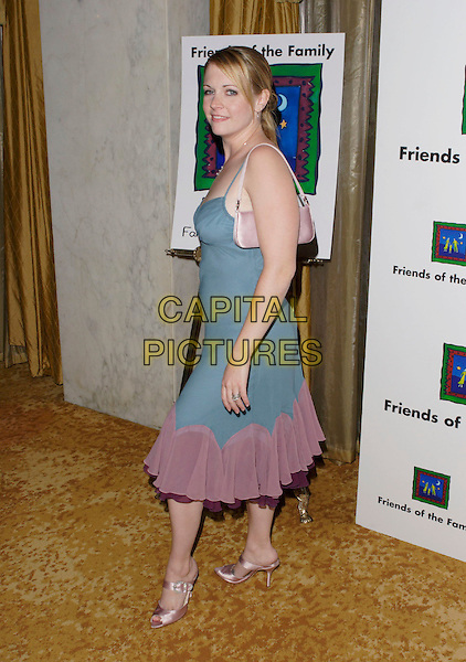 MELISSA JOAN HART.The 9th Annual Family Matters Benefit and Celebration held at the Regent Beverly Wilshire Hotel, Beverly Hills, Los Angeles, California, USA, 3 June 2005..full length blue grey green dress pink trim satin shoes bag heart.Ref: ADM.www.capitalpictures.com.sales@capitalpictures.com.©AdMedia/Capital Pictures.