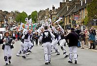Morris Men at historic re-enactment of the Levellers, perform in Burford High Street, The Cotswolds