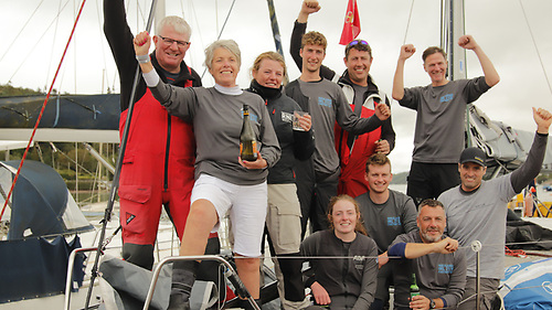 """Nieulargo's crew after winning the Fastnet 450 are (left to right, standing) Denis, Annamarie & Molly Murphy, Mark """"Nipper"""" Murphy (no relation), Killian Collins and Clive O'Shea, front row Mia Murphy, Cian Byrne, James Fegan and Nin O'Leary"""