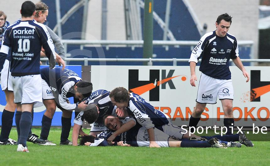 KVC Wingene - FC Gullegem : vreugde bij Wingene na de 3-0.foto VDB / BART VANDENBROUCKE