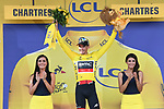 Race leader Greg Van Avermaet (BEL) BMC racing Team retains the Yellow Jersey at the end of Stage 7 of the 2018 Tour de France running 231km from Fougeres to Chartres, France. 13th July 2018. <br /> Picture: ASO/Pauline Ballet | Cyclefile<br /> All photos usage must carry mandatory copyright credit (&copy; Cyclefile | ASO/Pauline Ballet)