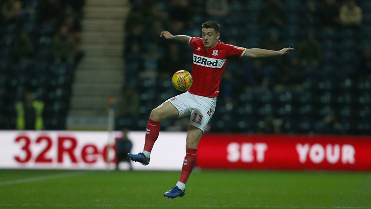 Middlesbrough's Jordan Hugill<br /> <br /> Photographer Stephen White/CameraSport<br /> <br /> The EFL Sky Bet Championship - Preston North End v Middlesbrough - Tuesday 27th November 2018 - Deepdale Stadium - Preston<br /> <br /> World Copyright © 2018 CameraSport. All rights reserved. 43 Linden Ave. Countesthorpe. Leicester. England. LE8 5PG - Tel: +44 (0) 116 277 4147 - admin@camerasport.com - www.camerasport.com
