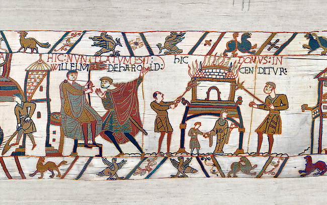 11th Century Medieval Bayeux Tapestry - Scene 46 - A watchman informs William of Horold armies movements. Scene 47 - Williams men burn down a house.