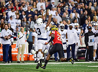 College Park, MD - NOV 25, 2017: Penn State Nittany Lions wide receiver Saeed Blacknall (13) reaches for a pass defended by Maryland Terrapins defensive back Antwaine Richardson (20) during game between Maryland and Penn State at Capital One Field at Maryland Stadium in College Park, MD. (Photo by Phil Peters/Media Images International)