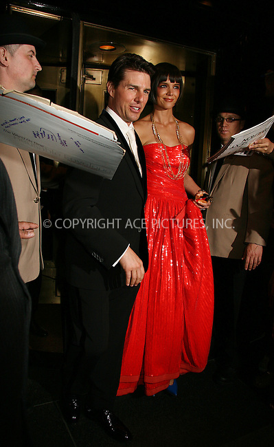 WWW.ACEPIXS.COM . . . . .  ....May 5 2008, New York City....Tom Cruise and Katie Holmes leaving the Carlise hotel on the way to the Metropolitan Museum of Art Costume Institute Gala.....Please byline: NANCY RIVERA- ACE PICTURES.... *** ***..Ace Pictures, Inc:  ..tel: (646) 769 0430..e-mail: info@acepixs.com..web: http://www.acepixs.com